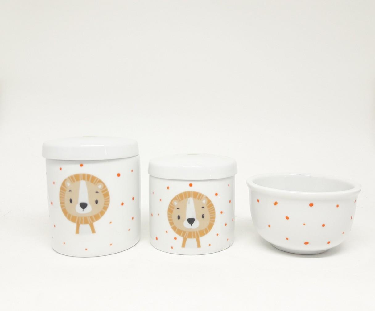 Kit higiene bebê porcelana Leão/ Safari/ Animais/ Bichinhos da Floresta
