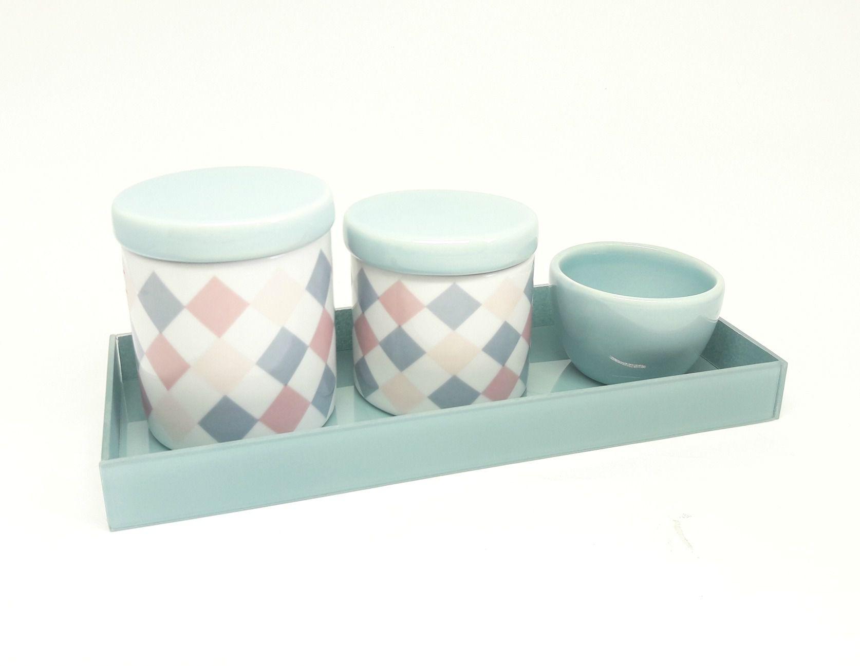 Kit Higiene Bebê Porcelana | Losangos coloridos  com Bandeja de Vidro| 4 peças