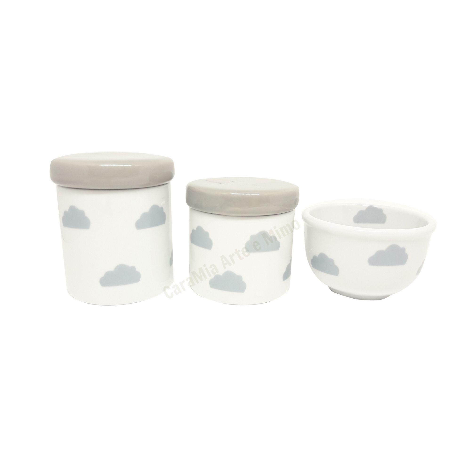Kit Higiene Bebê Porcelana | Nuvem Cinza | 3 peças| Tampas Cinzas