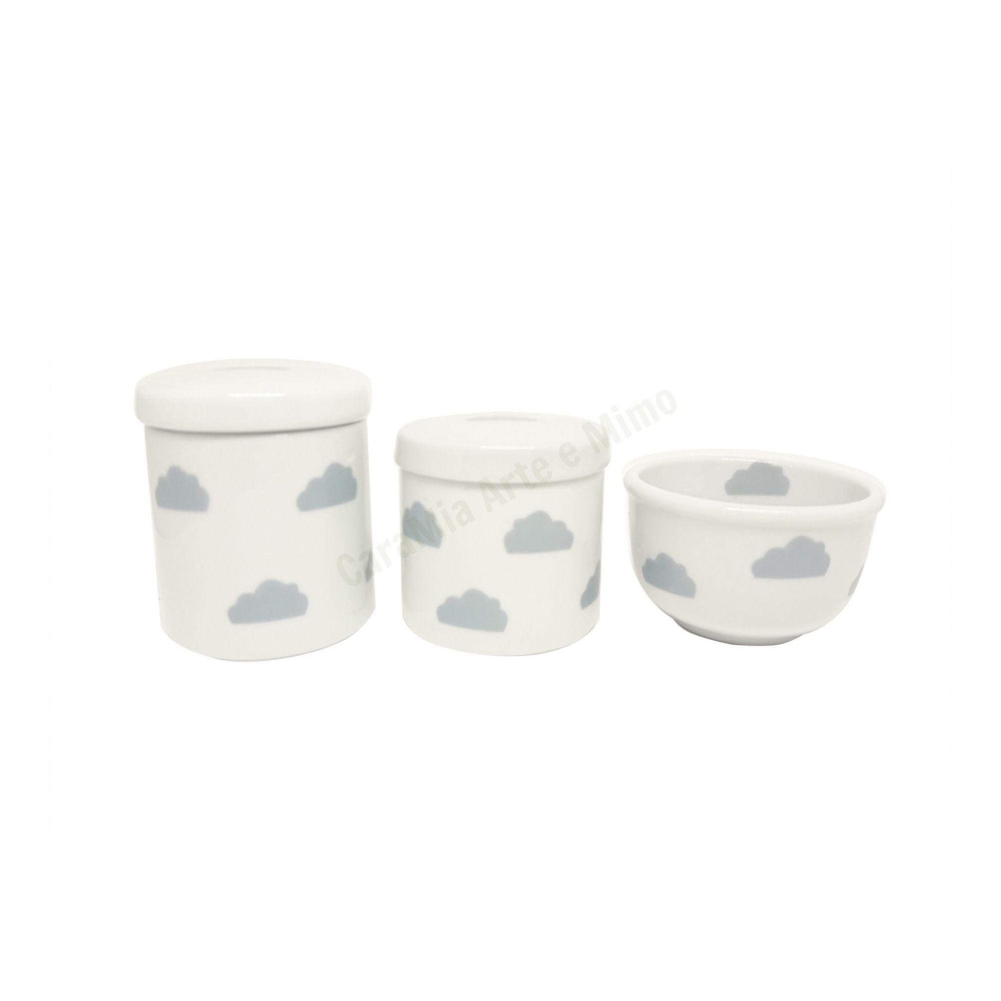 Kit Higiene Bebê Porcelana | Nuvem Cinza| Tampas Brancas com Nuvens