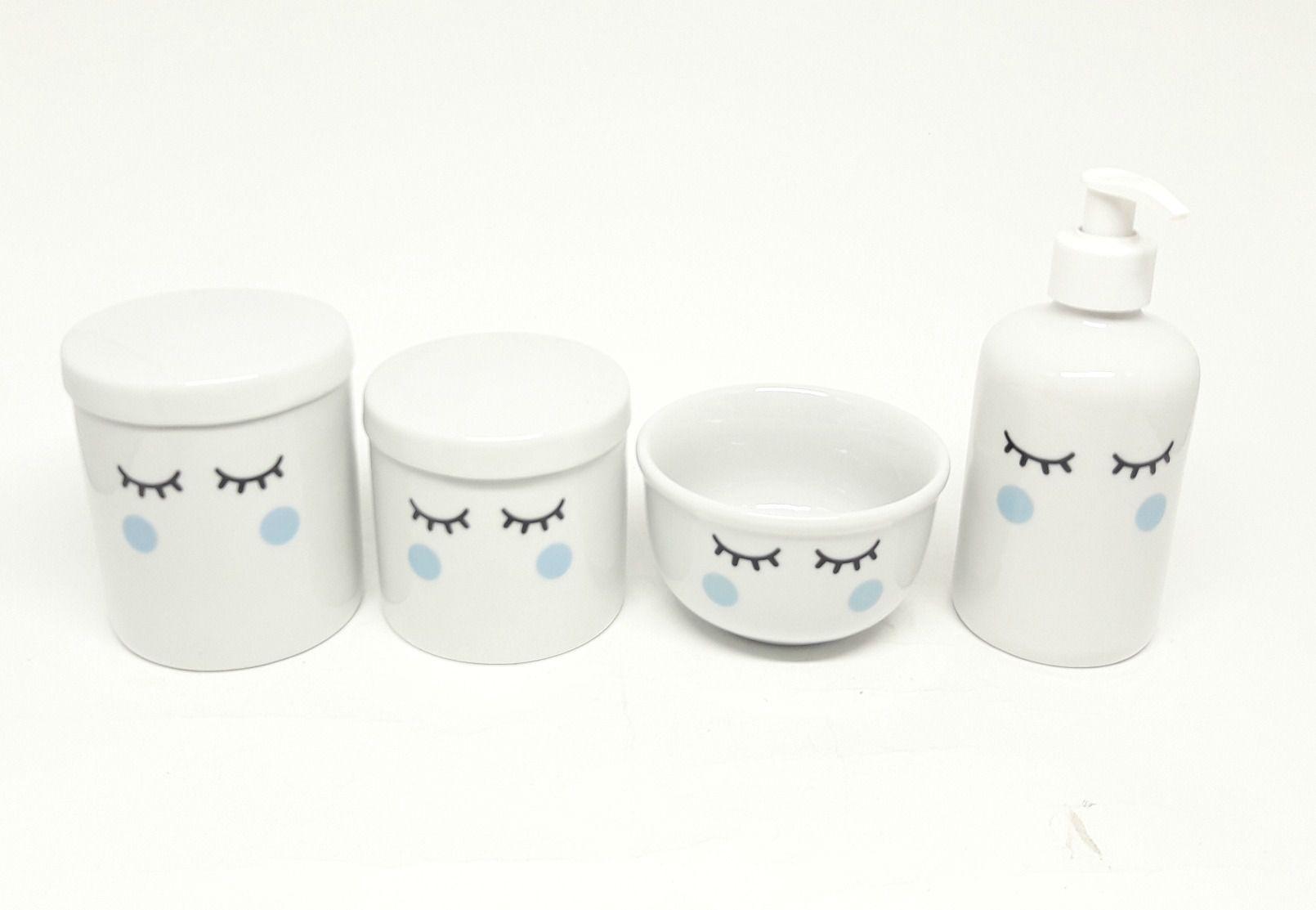 Kit Higiene Bebê Porcelana Olhinhos Cílios | 4 Peças| Bochechas Azuis