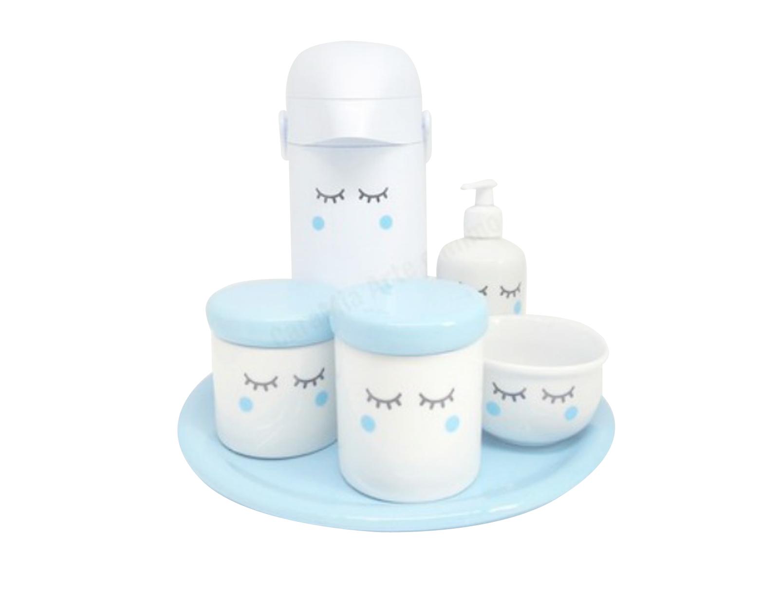 Kit Higiene Bebê Porcelana Olhinhos Cílios | Bochechas Azuis| com Bandeja em Cerâmica e Garrafa Decorada | Azul
