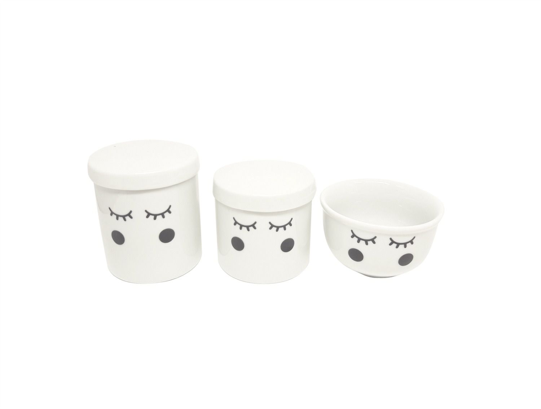 Kit Higiene Bebê Porcelana Olhinhos Cílios| Bochechas Pretas | 3 pecas