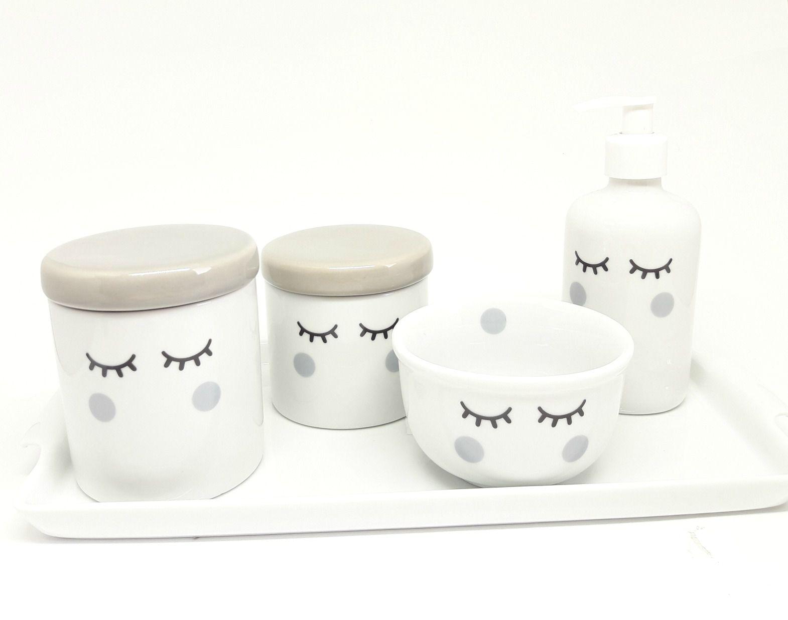 Kit Higiene Bebê Porcelana | Olhinhos Cílios Cinza com Bandeja em Porcelana