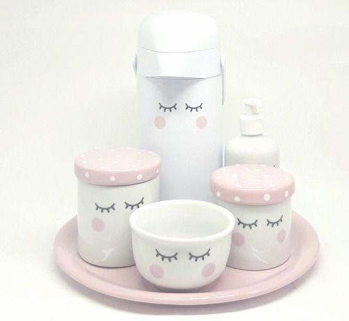 Kit Higiene Bebê Porcelana Olhinhos Cílios com Bandeja em Cerâmica e Garrafa Decorada