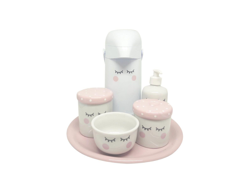 Kit Higiene Bebê Porcelana Olhinhos Cílios com Bandeja em Cerâmica e Garrafa Decorada | Rosa Poá