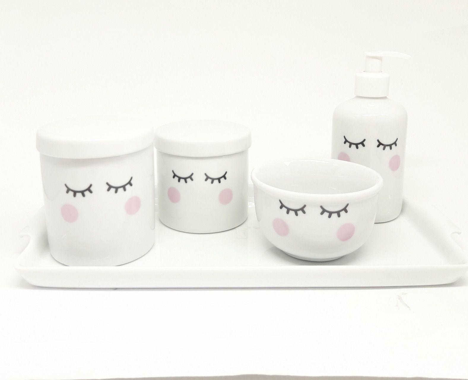 kit Higiene Bebê Porcelana |Olhinhos Cílios |com Bandeja em Porcelana