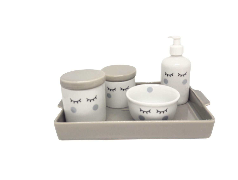 Kit Higiene Bebê Porcelana Olhinhos Cílios com Bandeja Retangular Grande em Cerâmica | Cinza