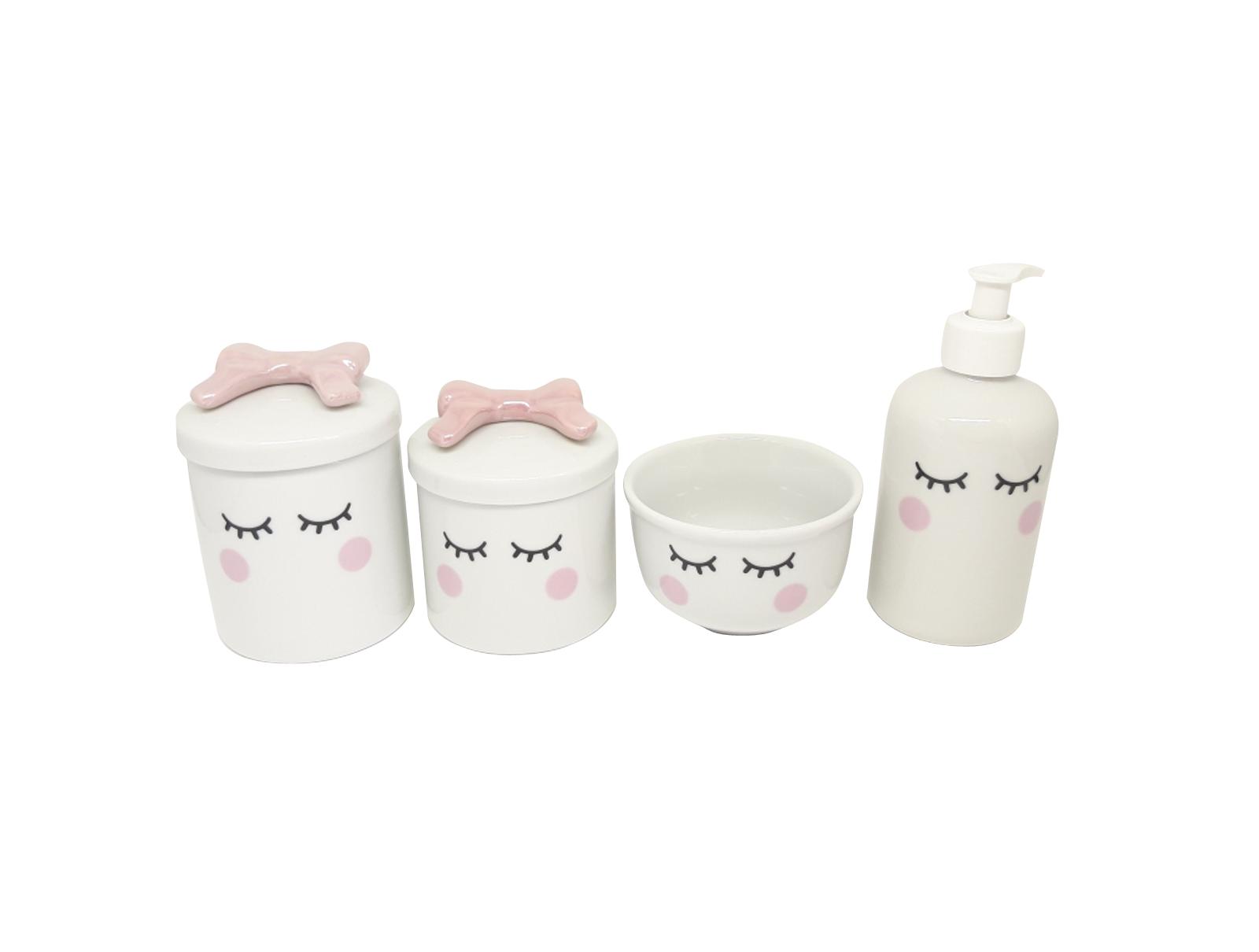 Kit Higiene Bebê Porcelana | Olhinhos Cílios com Laço Rosa|4 peças