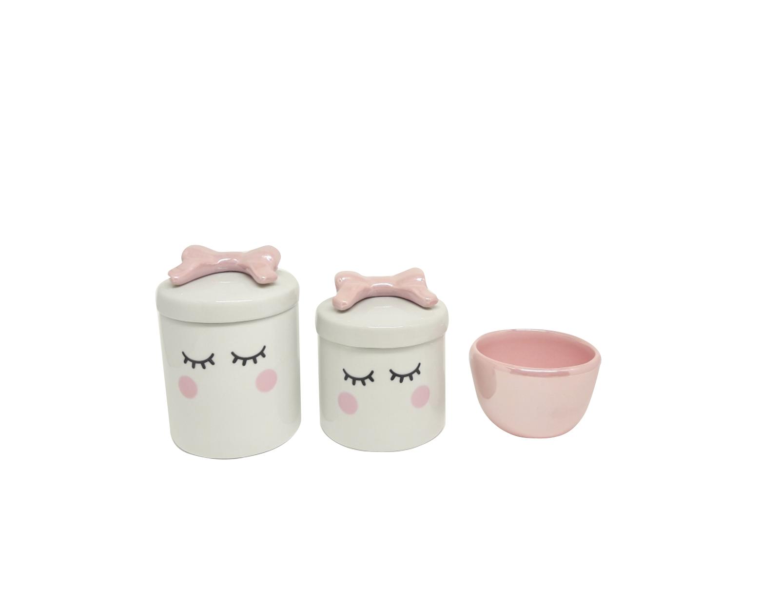 Kit Higiene Bebê Porcelana | Olhinhos Cílios com Laço Rosa em Cerâmica |  3 peças