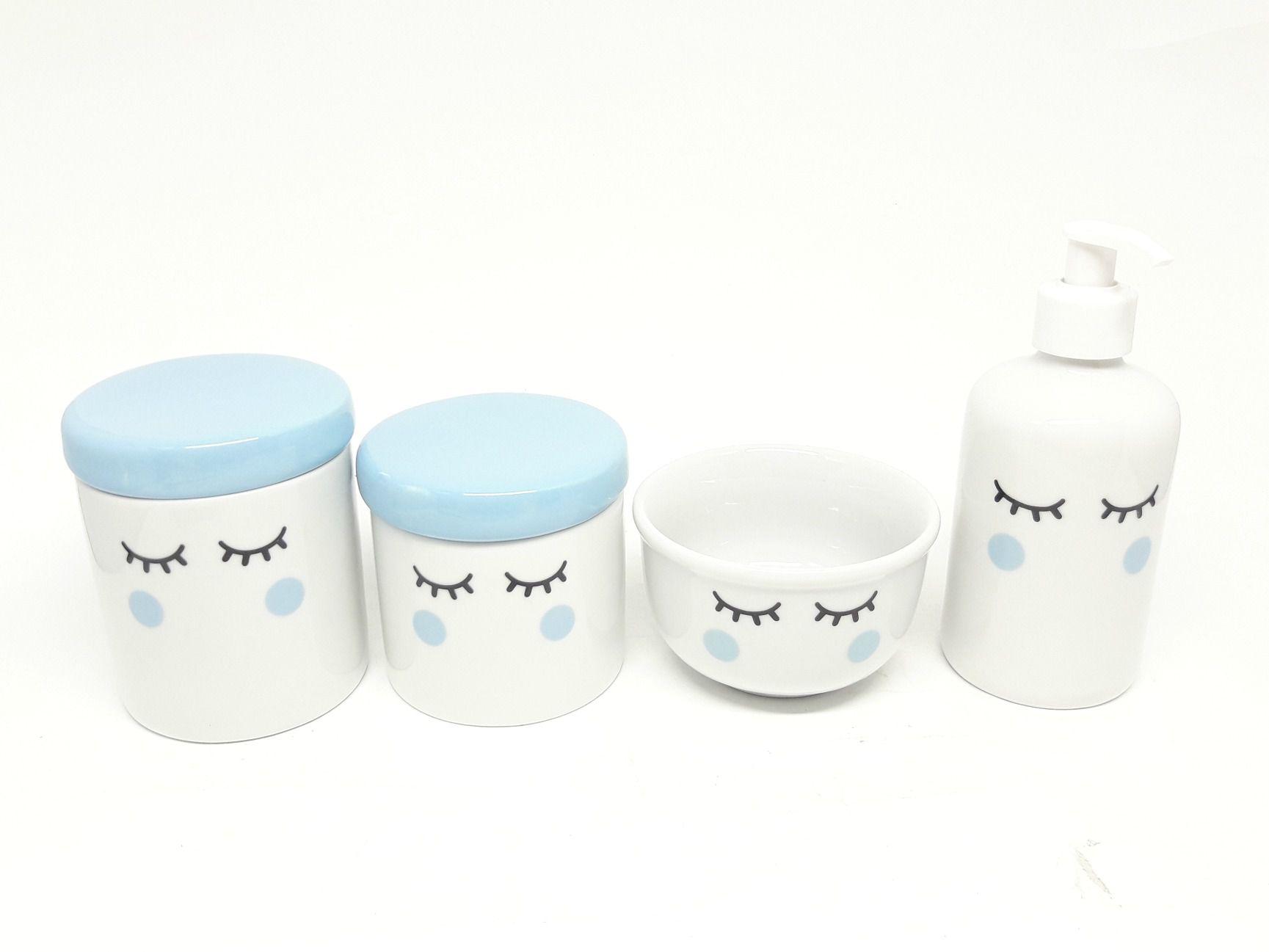 Kit Higiene Bebê Porcelana Olhinhos Cílios |com Tampa Azul Bebê e Bochechas Azuis