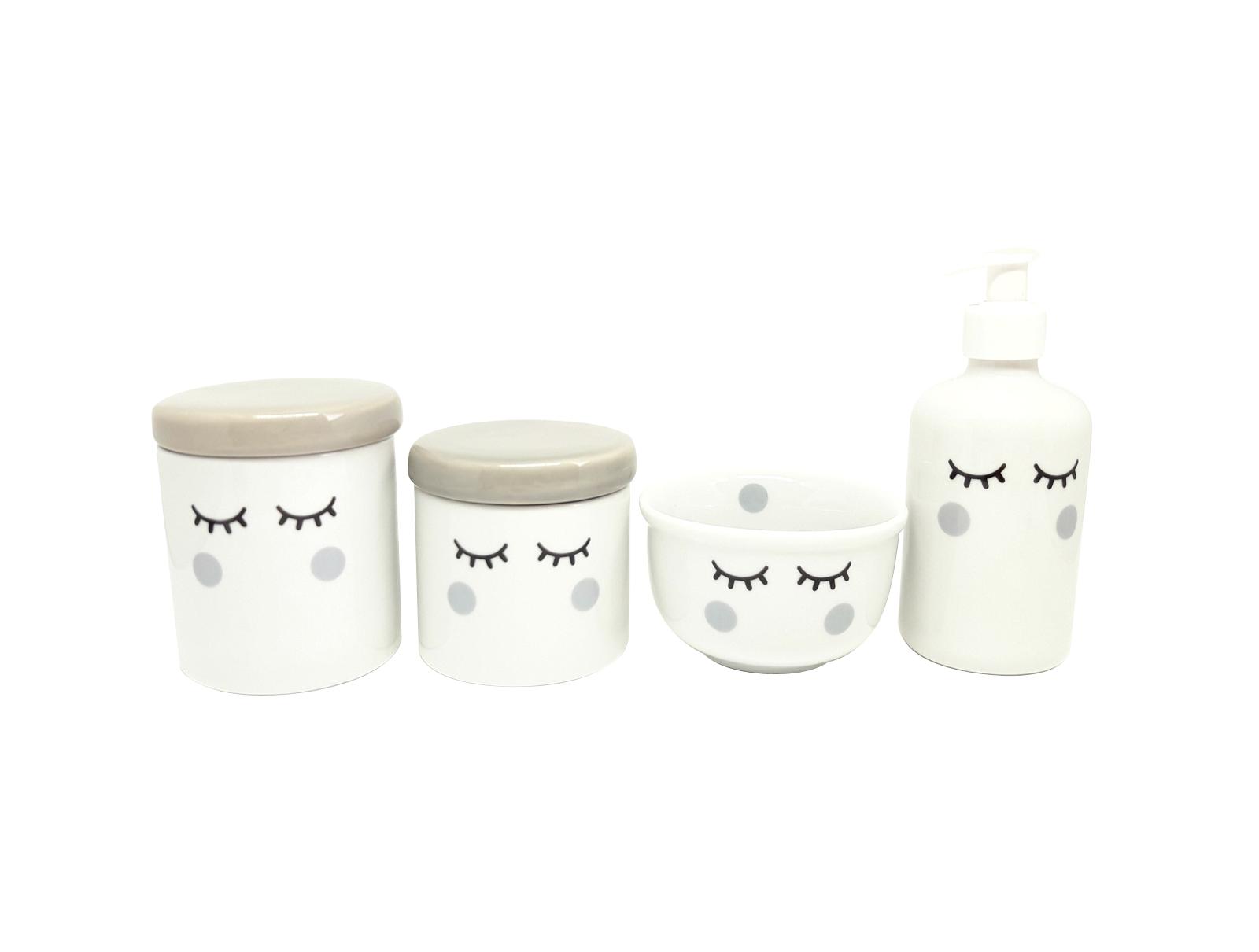 kit Higiene Bebê Porcelana Olhinhos Cílios com Tampa Cinza 4 peças