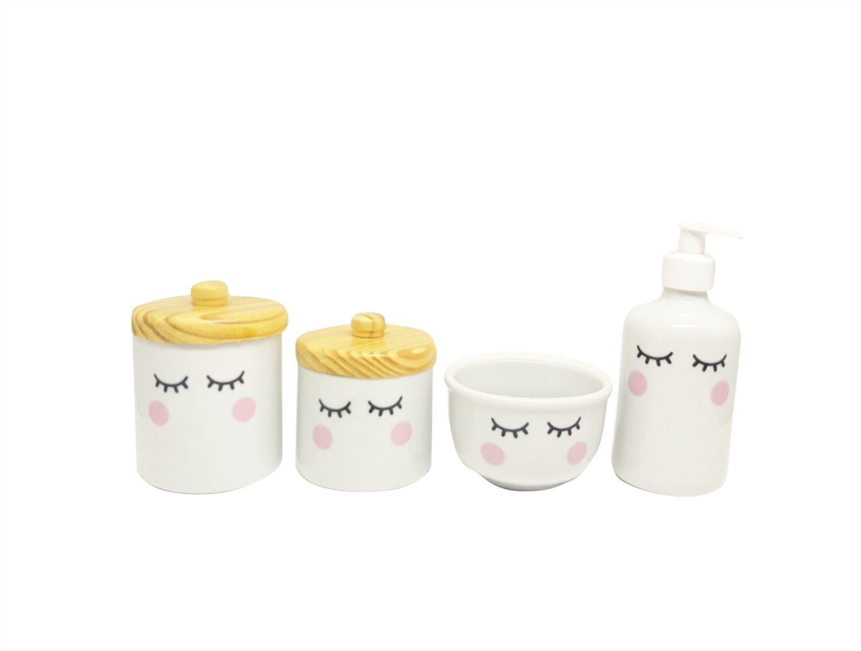 Kit Higiene bebê Porcelana Olhinhos Cílios com Tampa Pinus Rústica