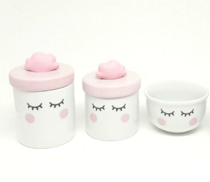 Kit Higiene bebê Porcelana   Olhinhos Cílios com Tampa Rosa Bebê   Nuvem rosa   3 peças