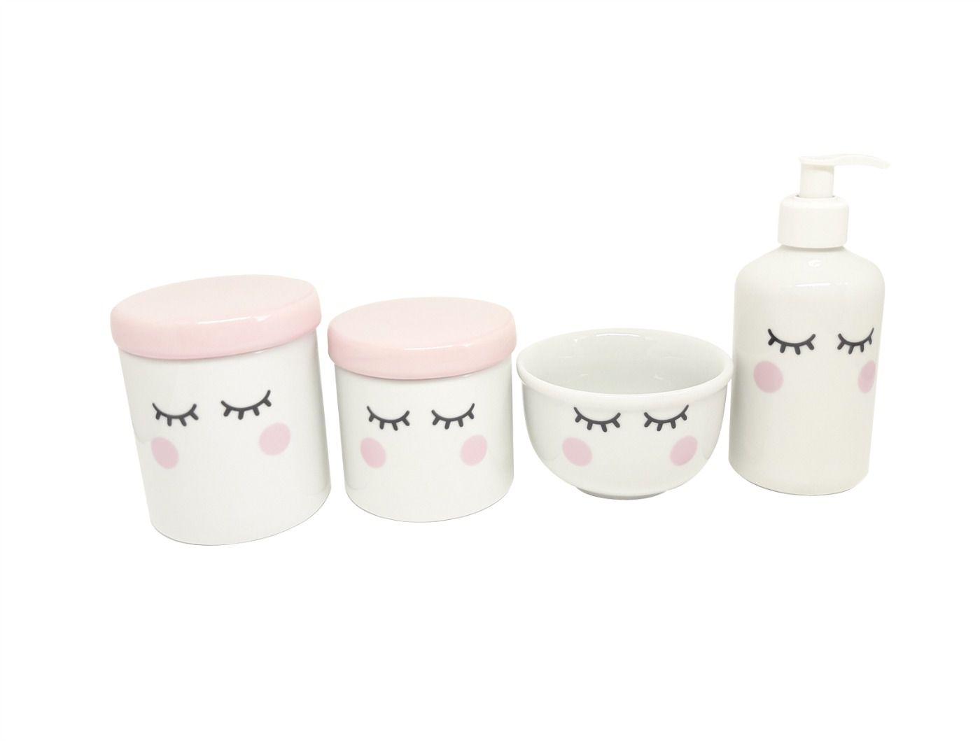 Kit Higiene Bebê Porcelana | Olhinhos Cílios com Tampas Rosa Bebê| 4 peças