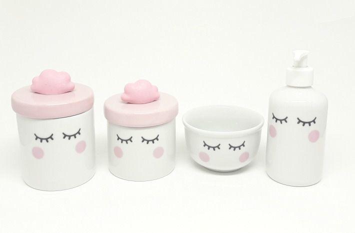 Kit Higiene Bebê Porcelana | Olhinhos Cílios com Tampas Rosa Bebê e Nuvem Rosa| 4 peças