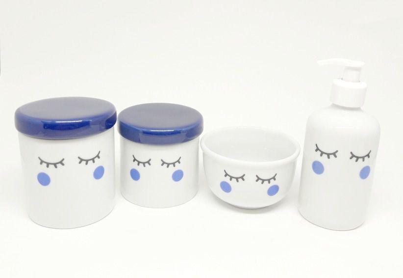 Kit Higiene Bebê Porcelana | Olhinhos Cílios em Azul Marinho | 4 peças
