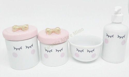 Kit Higiene Bebê Porcelana | Olhinhos Cílios lacinho Dourado | 4 peças | Rosa