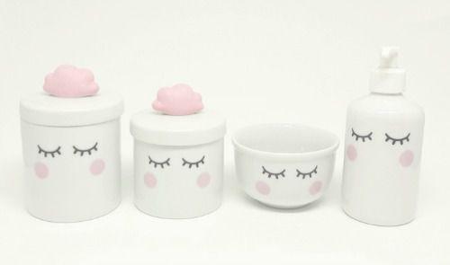 Kit Higiene Bebê Porcelana | Olhinhos Cílios Nuvem Rosa| 4 peças