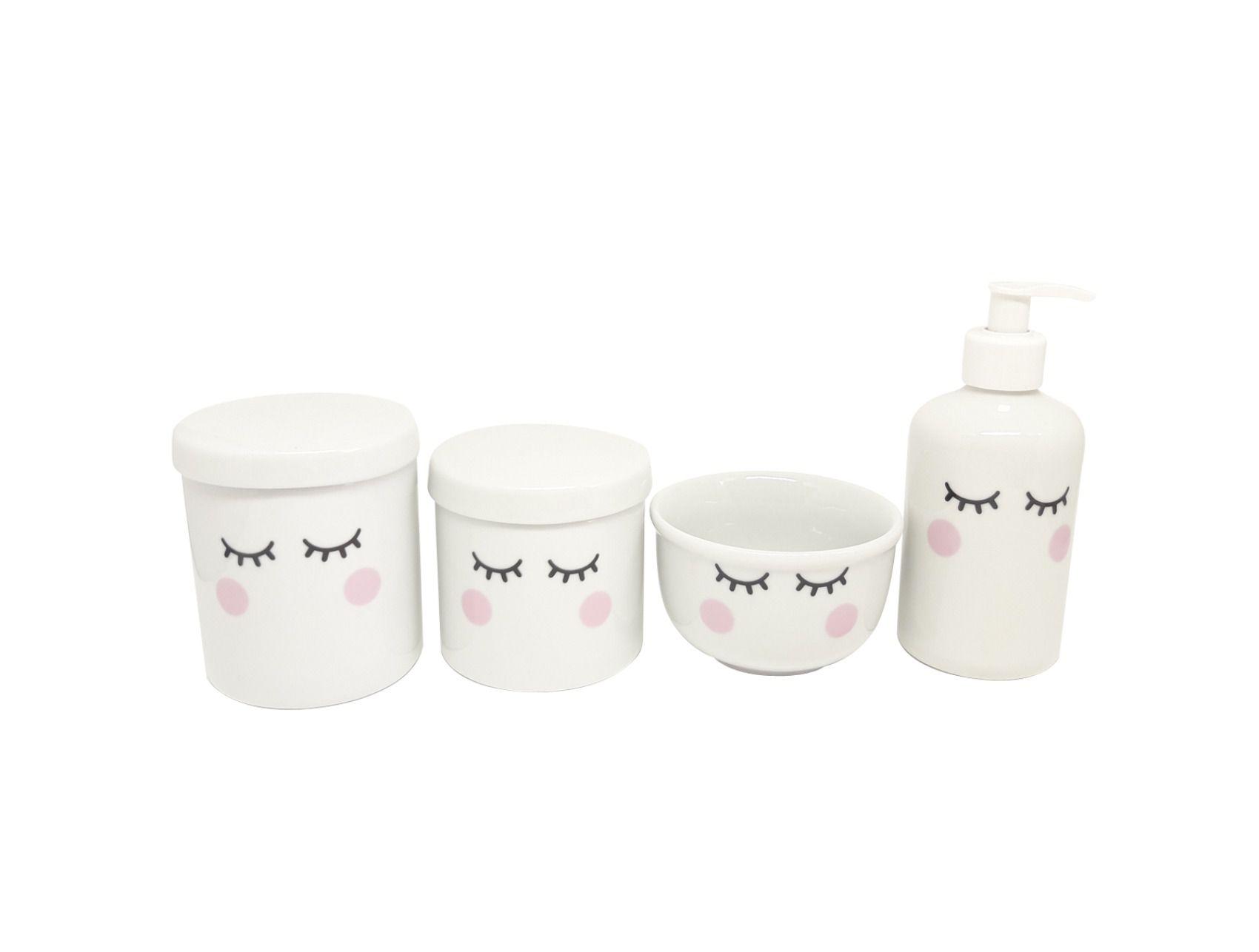 Kit Higiene Bebê Porcelana | Olhinhos Cílios Rosa | 4 peças