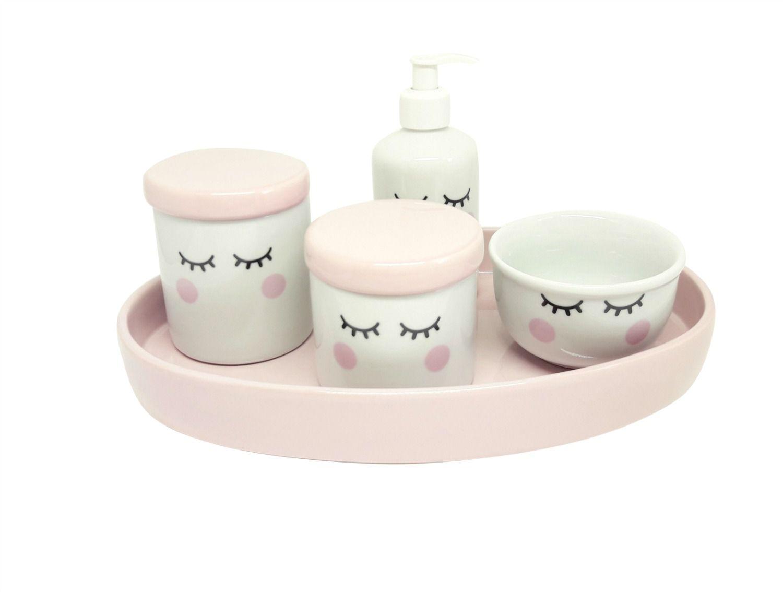 Kit Higiene Bebê Porcelana Olhinhos Cílios Rosa Bebê | Bandeja Oval em Cerâmica rosa