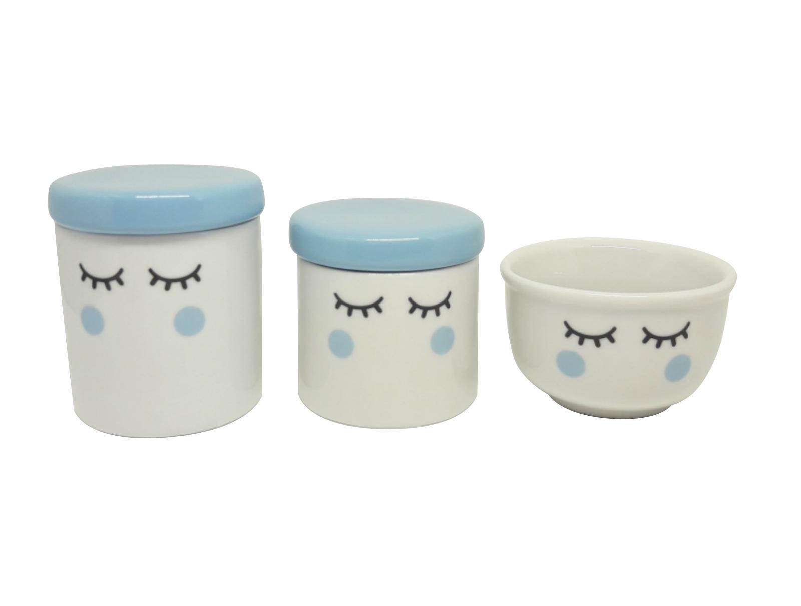 Kit Higiene Bebê Porcelana | Olhinhos Cílios | Tampas e Bochechas azuis | 3 peças | Azul