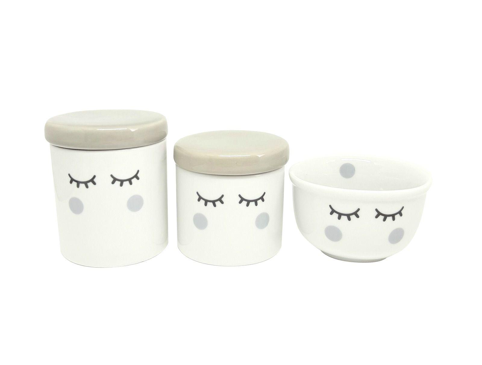 Kit Higiene Bebê Porcelana Olhinhos Cílios | Tampas e Bochechas Cinzas | 3 peças