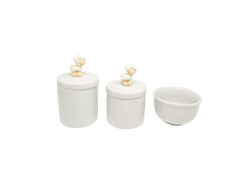 Kit Higiene Bebê Porcelana Ovelha |Carneirinho| Ovelhinha em Biscuit
