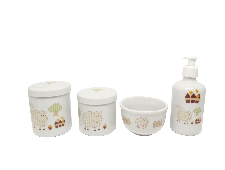 Kit Higiene Bebê Porcelana | Ovelhinha Cute/ Ovelha/ Carneirinho| 4 peças