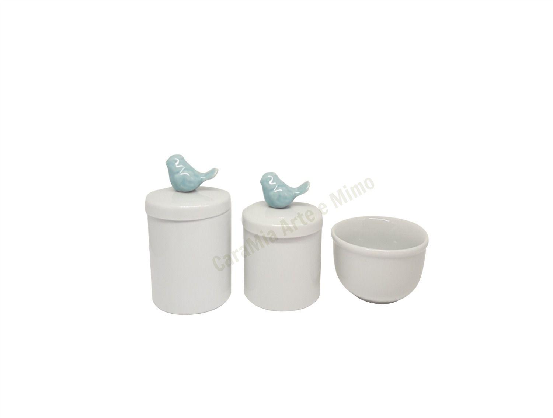 Kit Higiene Bebê Porcelana | Pássaro Azul Antigo| 3 peças