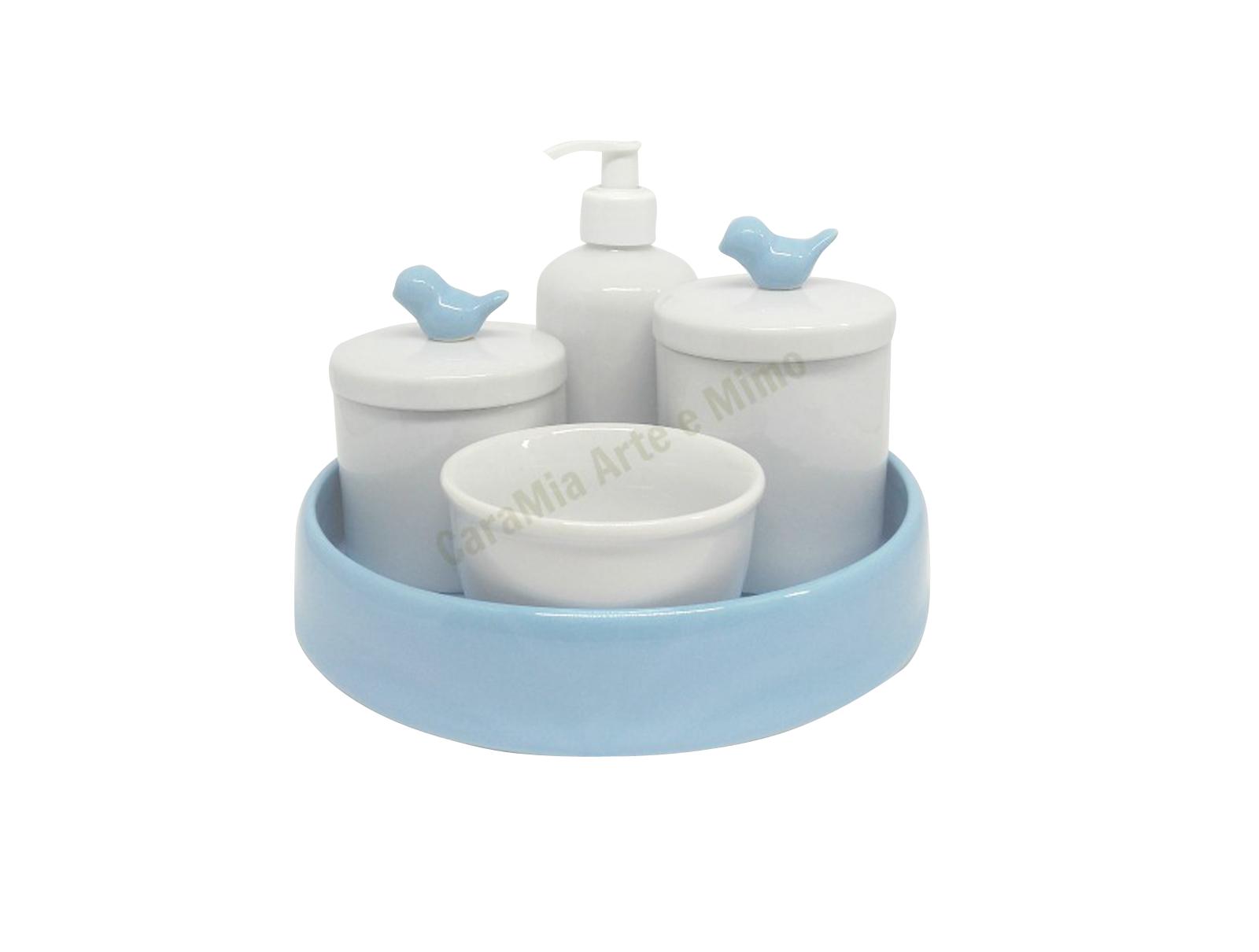 Kit Higiene Bebê Porcelana| Pássaro Azul com Bandeja Azul| 5 peças