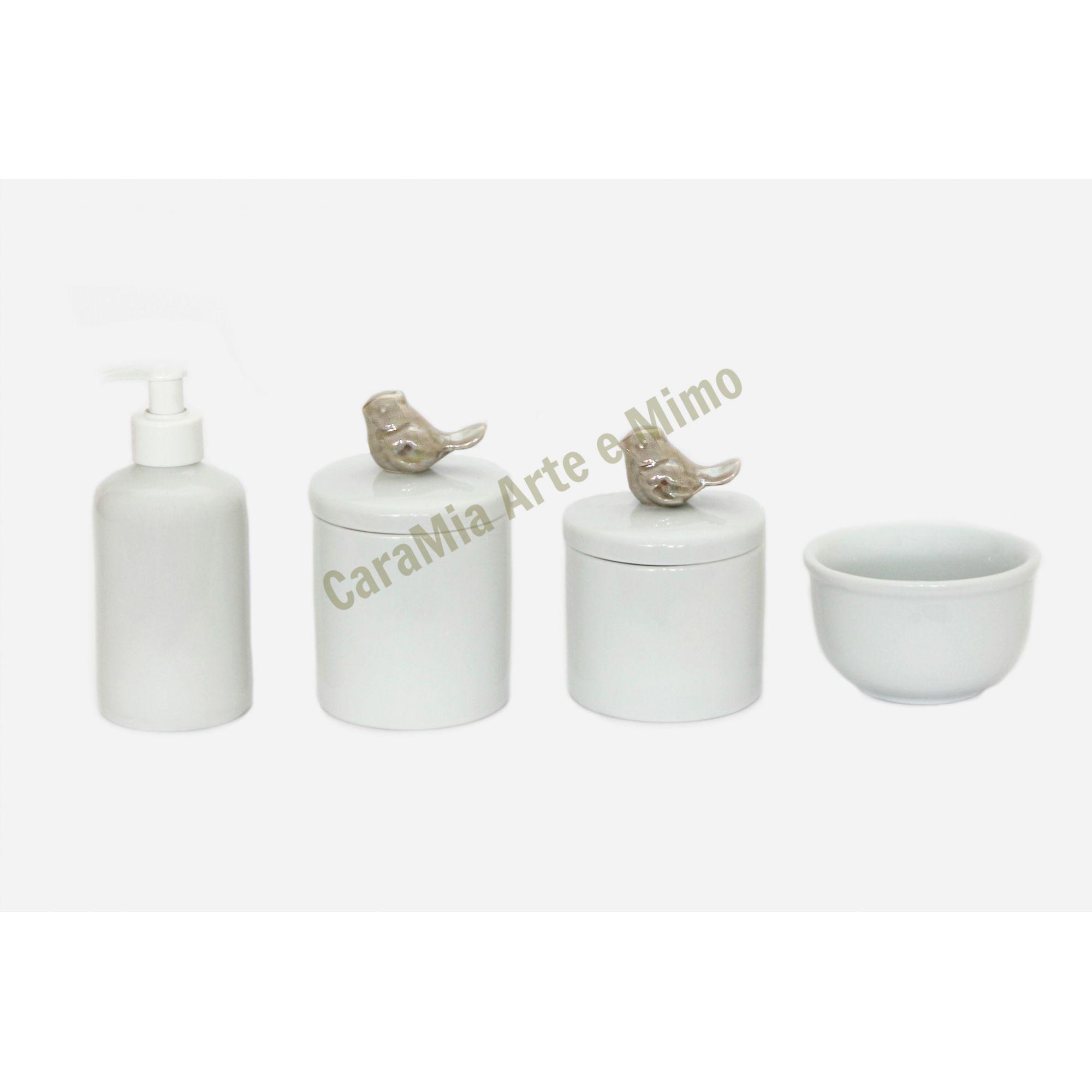 Kit Higiene Bebê Porcelana| Pássaro Cinza Perolizado ( com brilho) |4 peças