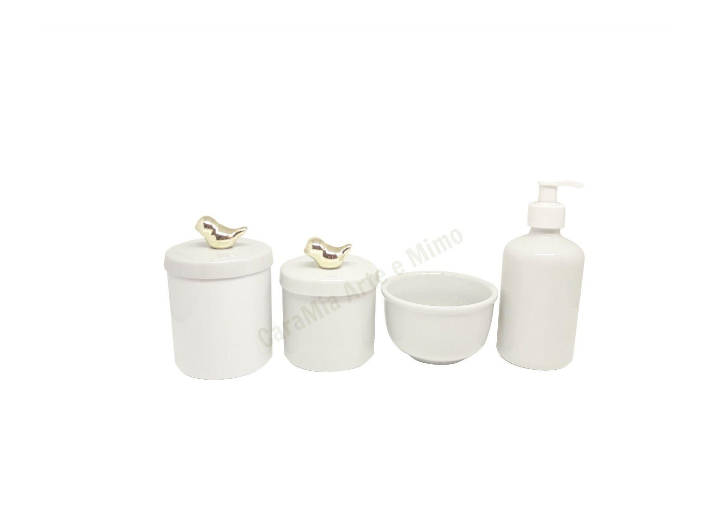 Kit Higiene Bebê Porcelana Pássaro Metalizado Dourado | 4 peças
