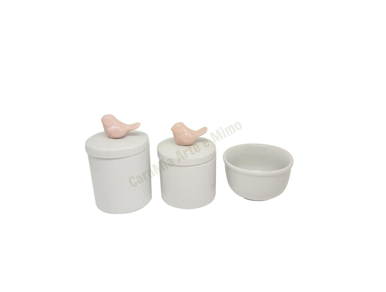 Kit Higiene Bebê Porcelana Pássaro Rosa Antigo |3 peças