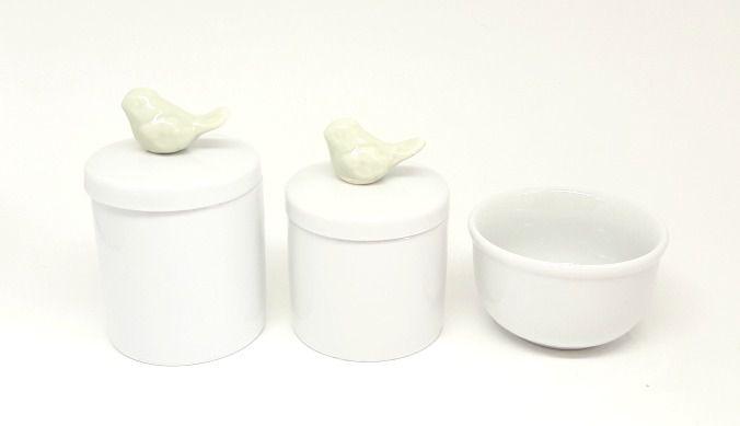 Kit Higiene Bebê Porcelana | Pássaro Verde Bebê | 3 peças