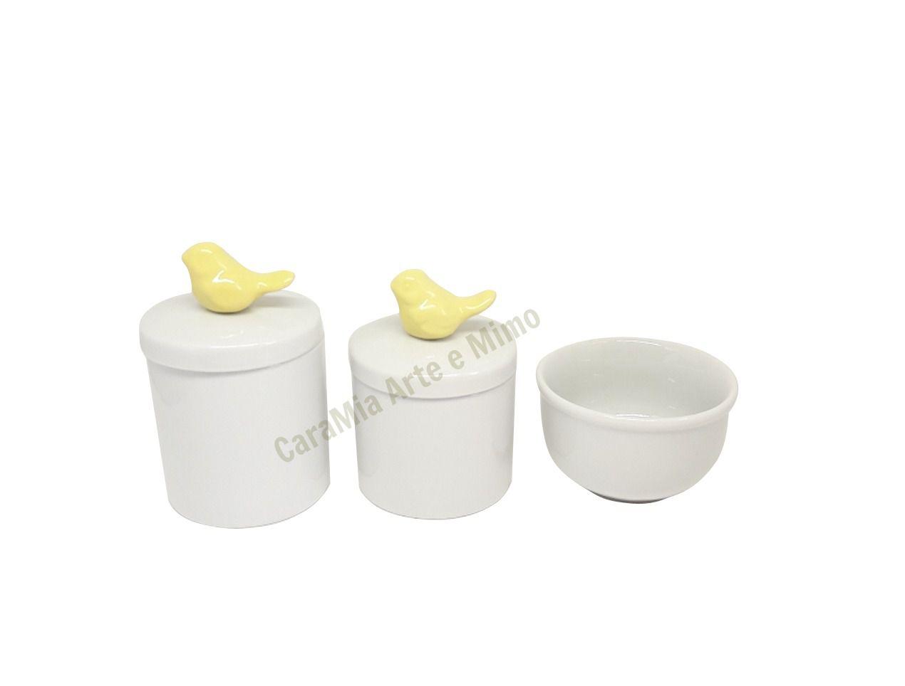 Kit Higiene Bebê Porcelana | Pássaros Amarelos| 3 peças