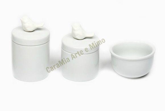 Kit Higiene Bebê Porcelana | Pássaros Brancos | 3 Peças