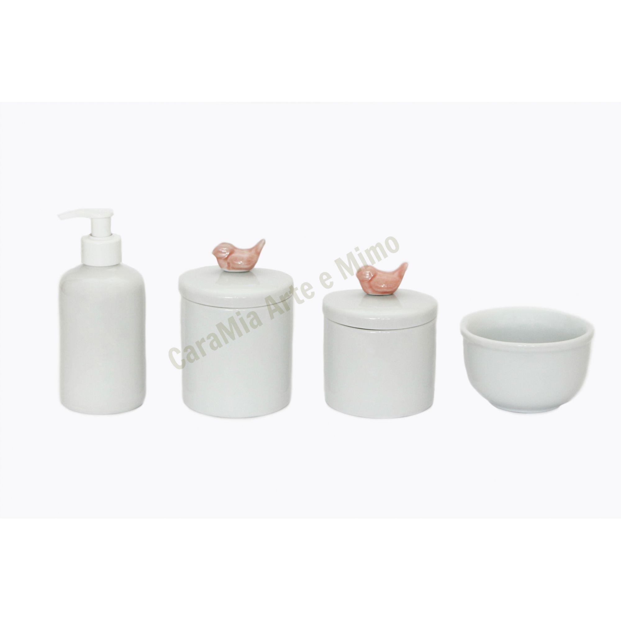 Kit Higiene Bebê Porcelana | Pássaros Pequenos Rosa Antigo | 4 peças