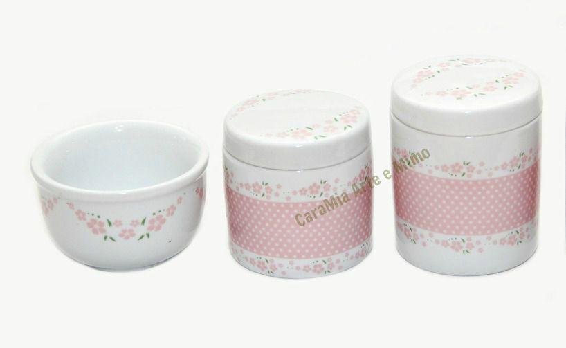 Kit Higiene Bebê Porcelana |Floral | Poá e Flor Rosa| 3 Peças