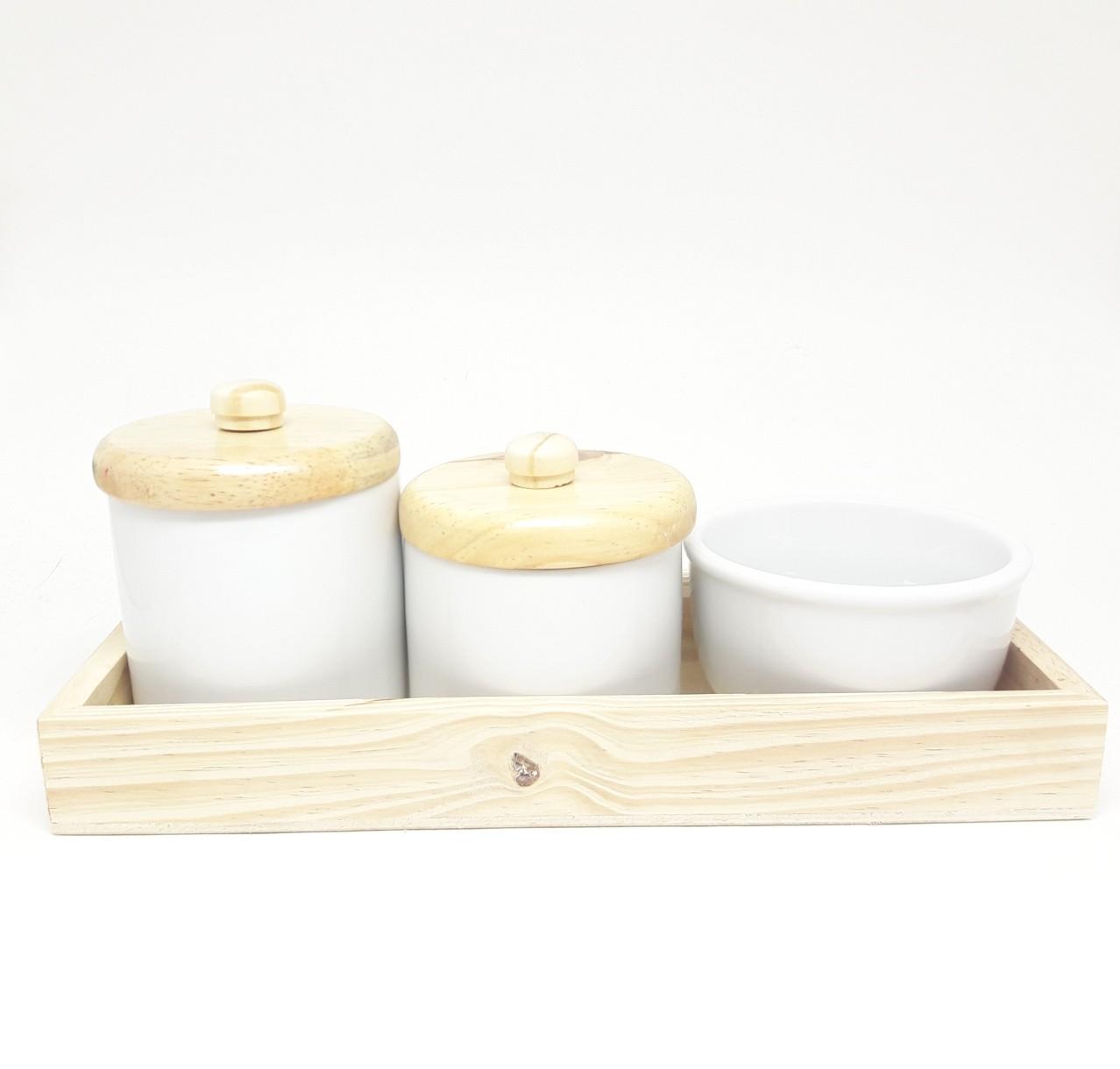 Kit higiene bebê porcelana pinus com bandeja rústica