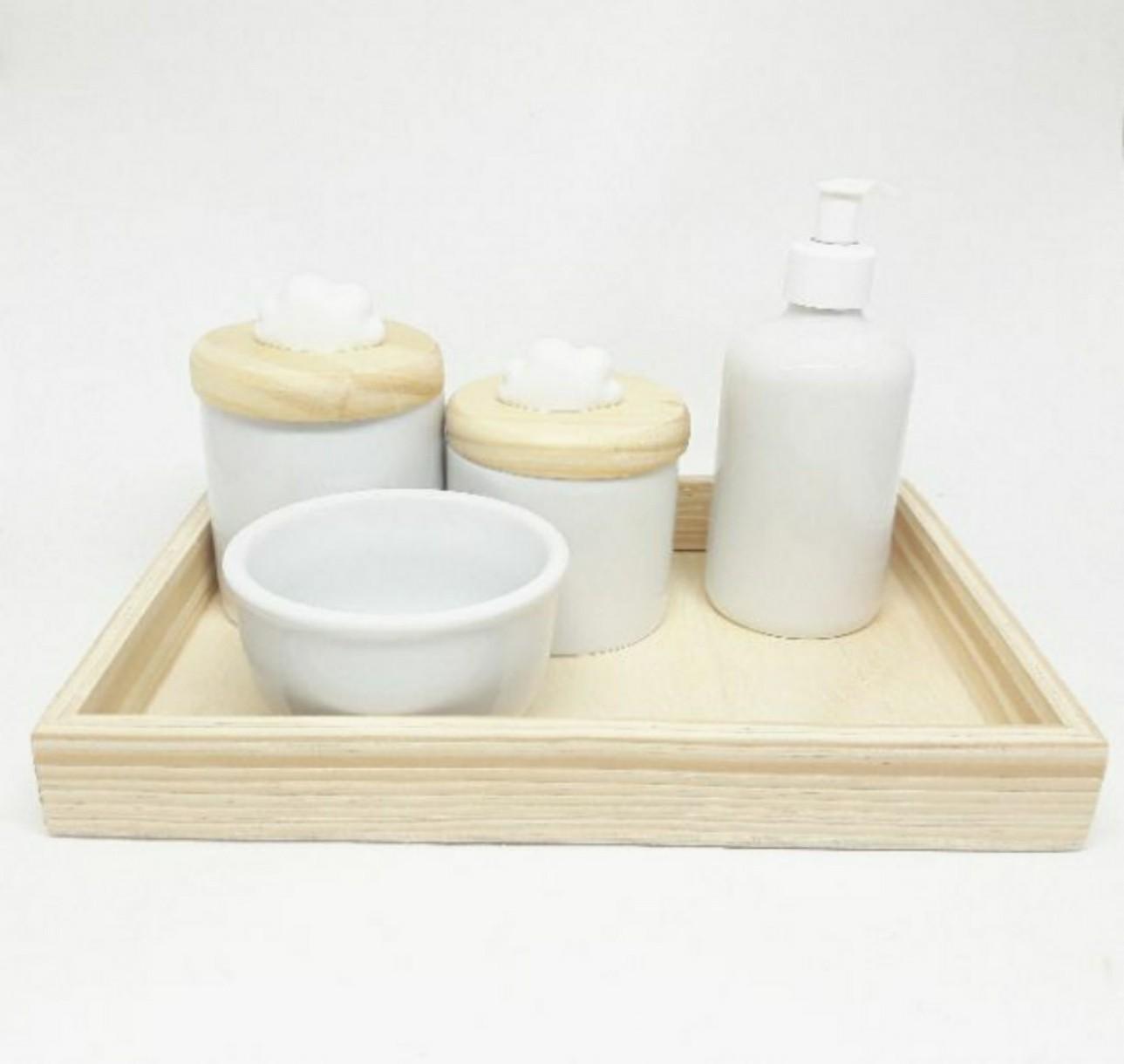 Kit higiene bebê porcelana pinus e nuvem com bandeja