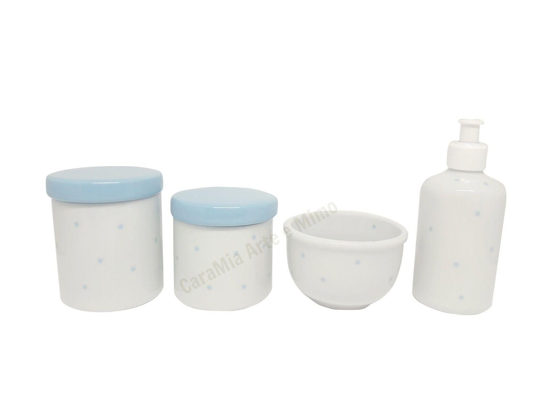 Kit Higiene Bebê Porcelana Poá Azul |Tampas Azuis