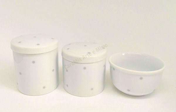 Kit Higiene Bebê Porcelana | Poá cinza| 3 peças