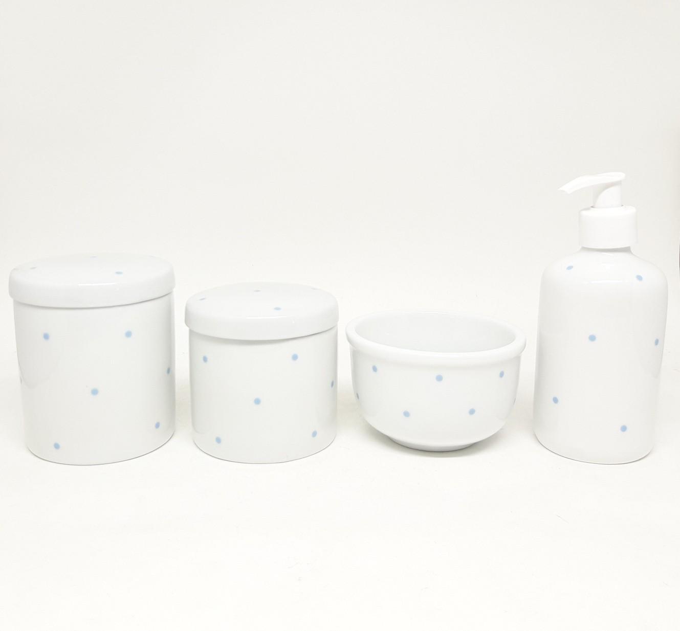 Kit Higiene Bebê Porcelana Poa Azul