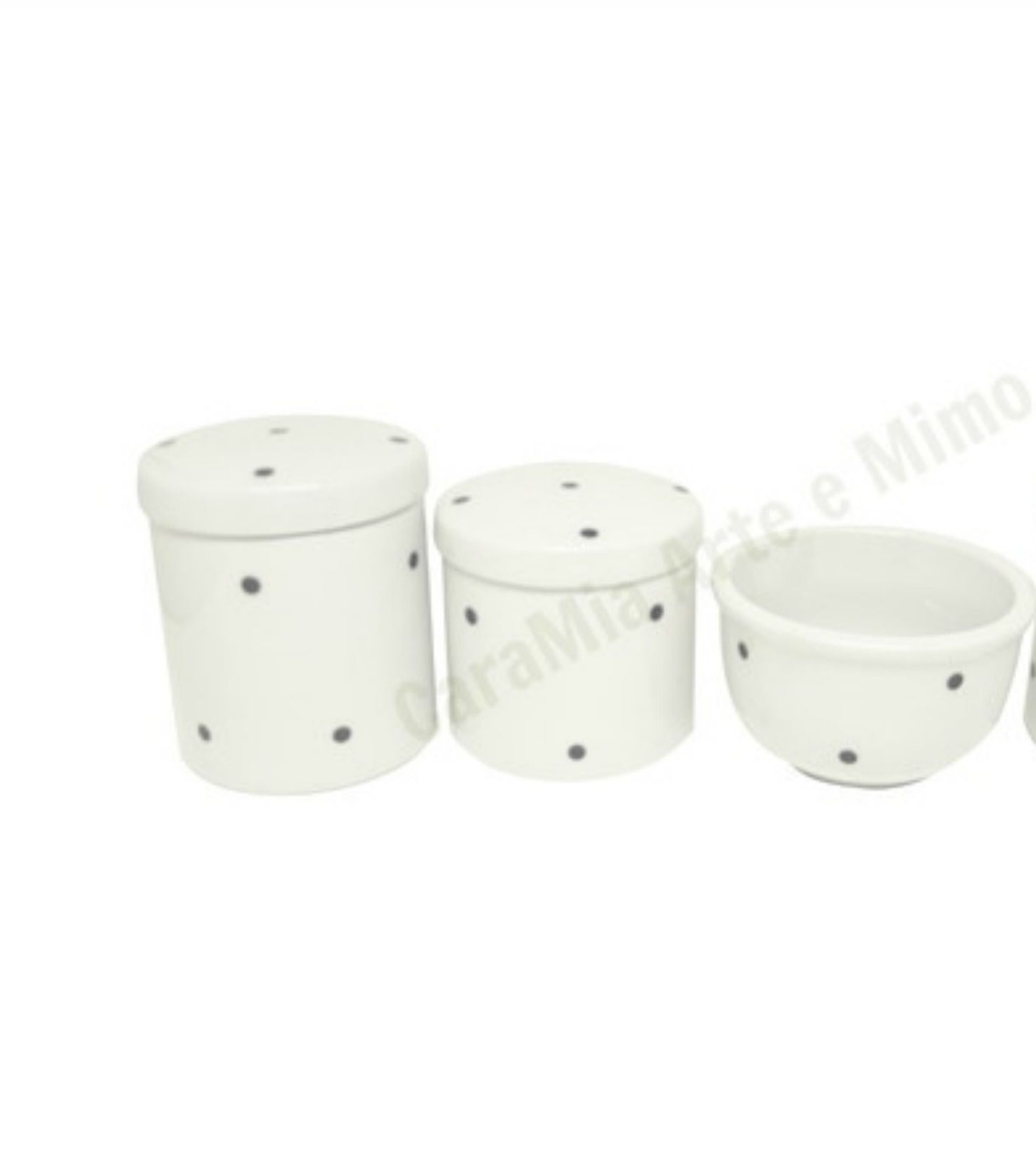 Kit Higiene Bebê Porcelana Poa Preto 3 peças