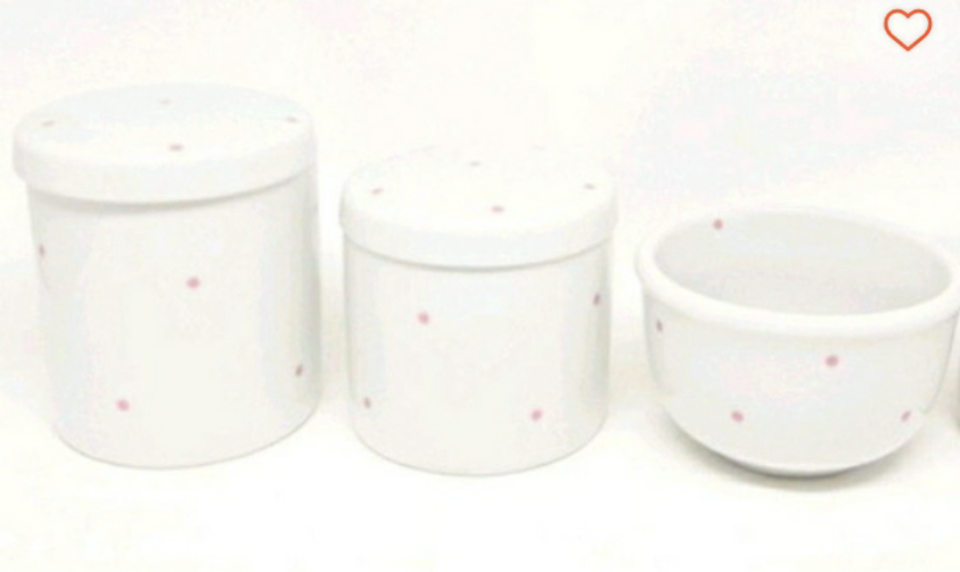 Kit Higiene Bebê Porcelana Poa Rosa 3 peças