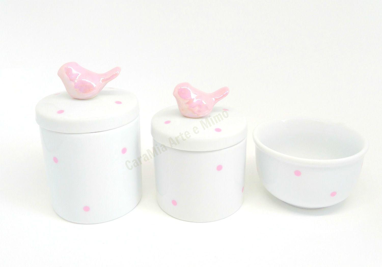 Kit Higiene Bebê Porcelana | Poá Rosa com Aplique de Pássaros Rosas| 3 peças