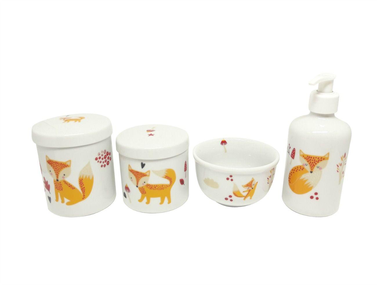 Kit Higiene Bebê Porcelana | Raposa | 4 peças | Escandinavo