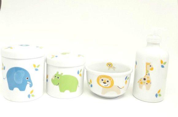 Kit higiene bebê porcelana Safari 4 peças