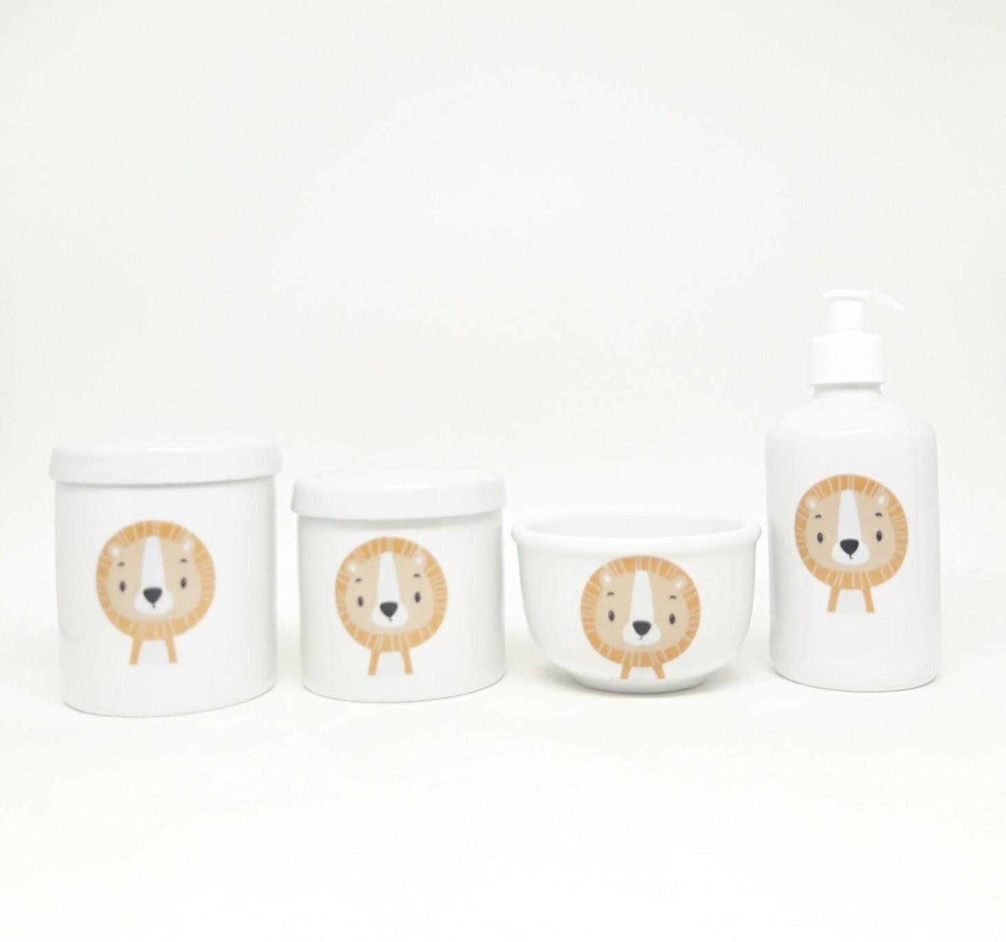 Kit Higiene Bebê Porcelana Safari Bichinhos Selva Leão
